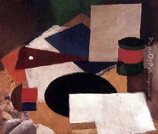 Still Life with a Square Black Disk and White Background Oil Painting - Roger de La Fresnaye