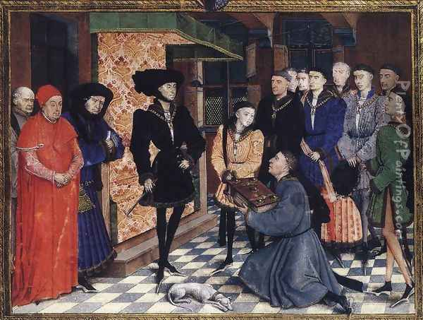 Miniature from the first page of the Chroniques de Hainaut 1448 Oil Painting - Rogier van der Weyden