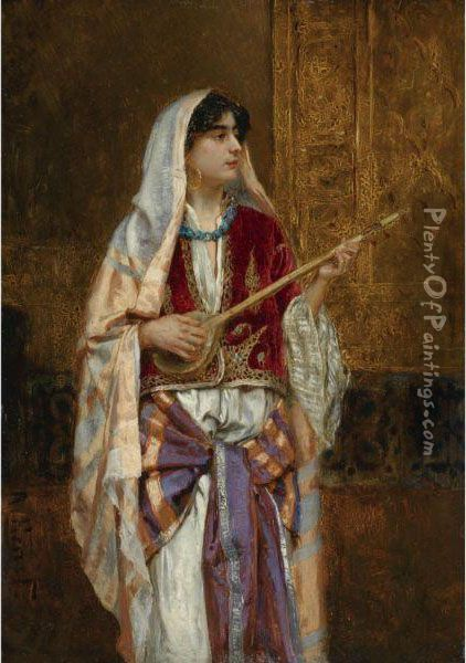 The Dutar Player Oil Painting - Rudolph Ernst