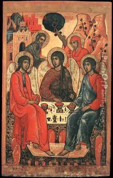 The Holy Trinity Oil Painting - Russian Unknown Master