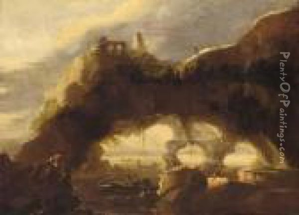 A Rocky Coastline With Anglers Before A Natural Arch Oil Painting - Salvator Rosa