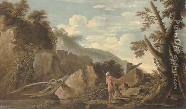 A wooded river landscape with figures in the foreground and a castle beyond Oil Painting - Salvator Rosa