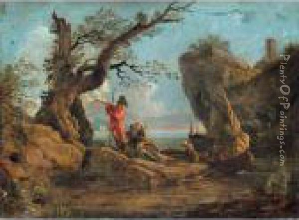Coastal Landscape With Soldiers Resting On Rocks Oil Painting - Salvator Rosa