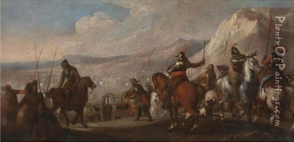 Soldiers Getting Ready For Battle Oil Painting - Salvator Rosa