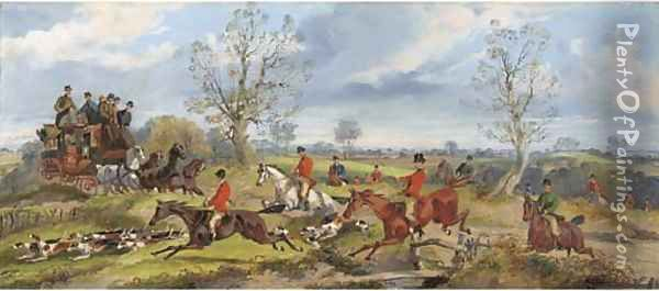 A hunt in full cry crossing the path of the York to London coach Oil Painting - Samuel Henry Gordon Alken