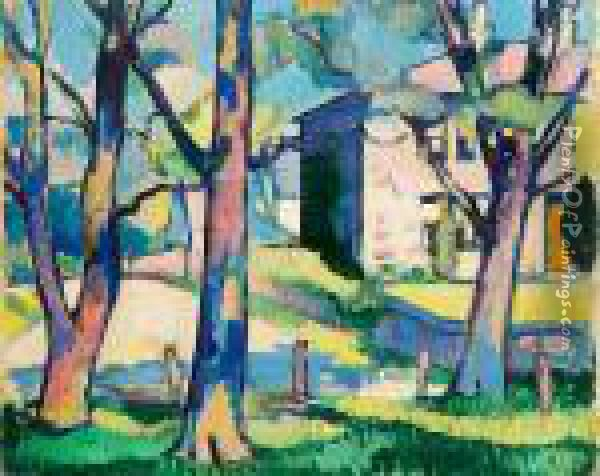 House And Trees, Dumfriesshire Oil Painting - Samuel John Peploe
