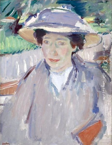 Portrait Of The Artist's Wife, Margaret Oil Painting - Samuel John Peploe