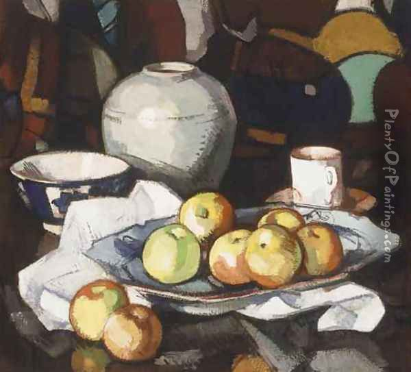 Still Life with Apples and Jar, 1912-16 Oil Painting - Samuel John Peploe