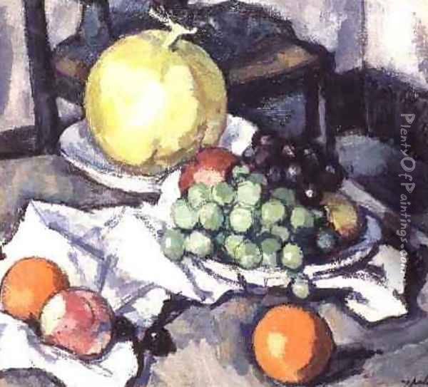Still Life with Melons and Grapes Oil Painting - Samuel John Peploe