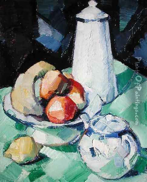 Still Life with Teapot and Fruit on a green Tablecloth, c.1913 Oil Painting - Samuel John Peploe