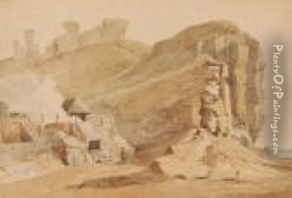 Lime Kilns Near The Cliffs At Hastings Oil Painting - Samuel Prout