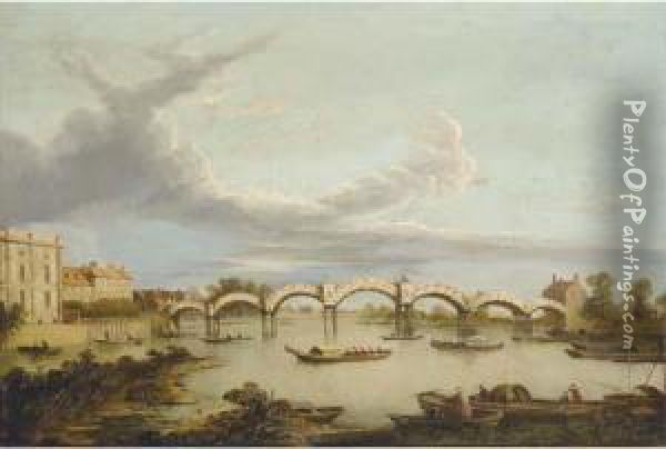 The Pagoda Bridge At Hampton Court Oil Painting - Samuel Scott