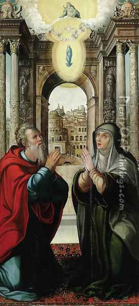 The Meeting of Joachim and Anne at the Golden Gate, with the Immaculate Conception and the Trinity above Oil Painting - School Of Toledo