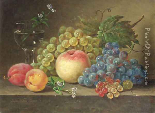 A still life with peaches and grapes on a ledge Oil Painting - Sebastiaan Theodorus Voorn Boers