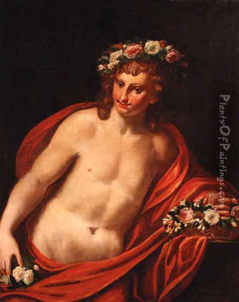 A young man with a floral wreath with a basket of flowers, holding a heart Oil Painting - Sebastiano Ricci