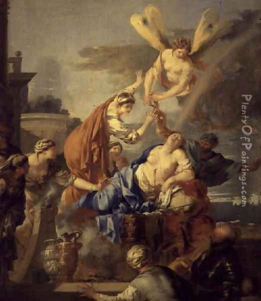 The Death of Dido, late 1630s Oil Painting - Sebastien Bourdon