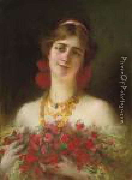 Portrait Of A Young Maiden With Red Wild Flowers Oil Painting - Serkis Diranian