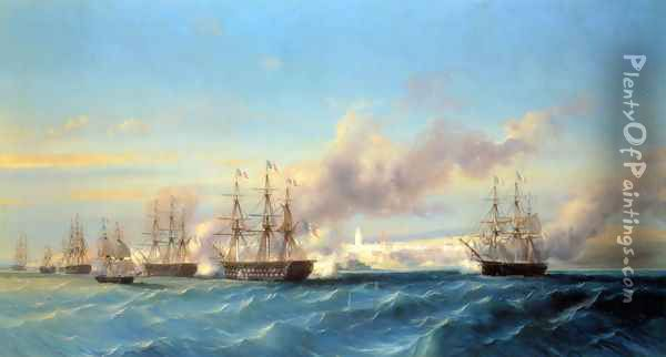 The Attack of Mogador by the French Fleet Oil Painting - Serkis Diranian