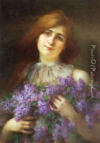 The Lilac Bouquet Oil Painting - Serkis Diranian