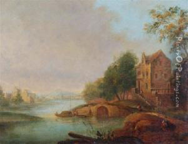A Continental River Scene With Figures By A Grand House. Signed Oil Painting - Simon Mathurin Lantara