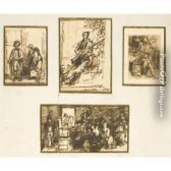 A Set Of Four Figure Studies Oil Painting - Sir David Wilkie