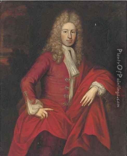 Portrait of William Rawson, three-quarter-length, in a red coat Oil Painting - Sir Godfrey Kneller