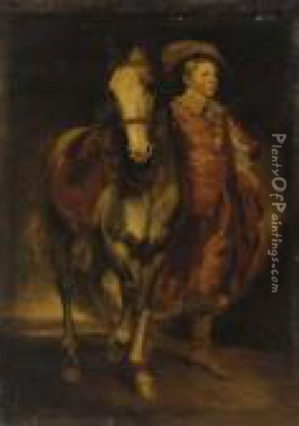 Portrait Of A Boy, Full-length, In Van Dyck Costume, Holding A Horse Oil Painting - Sir Joshua Reynolds