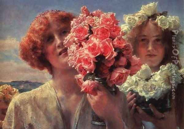 Young Girls with Roses Oil Painting - Sir Lawrence Alma-Tadema