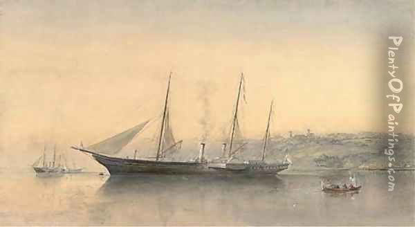 The Royal Yacht Victoria and Albert (II) lying in Osborne Bay, below Osborne House, Isle of Wight Oil Painting - Sir Oswald Walters Brierly