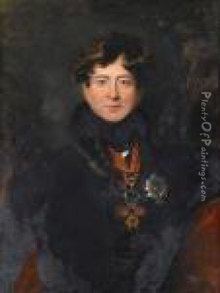 A Portrait Of King George Iv,  Bust-length, In A Fur-trimmed Coat And Wearing The Badge Of The Order Of  The Garter And The Spanish Order Of The Golden Fleece Oil Painting - Sir Thomas Lawrence