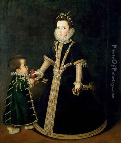 Girl with a dwarf, thought to be a portrait of Margarita of Savoy, daughter of the Duke and Duchess of Savoy, c.1595 Oil Painting - Sofonisba Anguissola