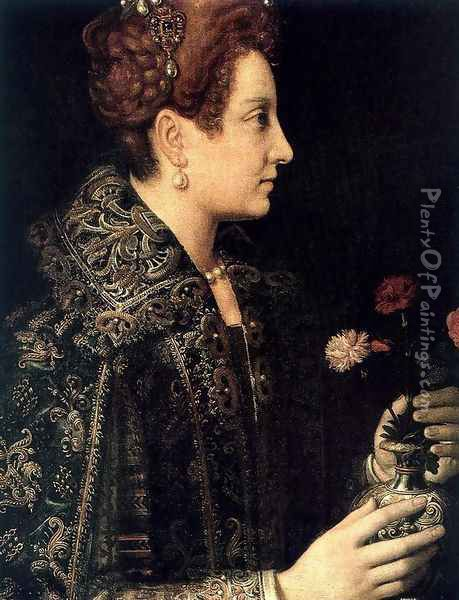 Profile Portrait Of A Young Woman Profile Oil Painting - Sofonisba Anguissola