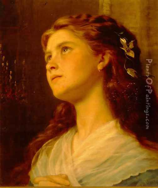 Portrait of a Young Girl Oil Painting - Sophie Gengembre Anderson
