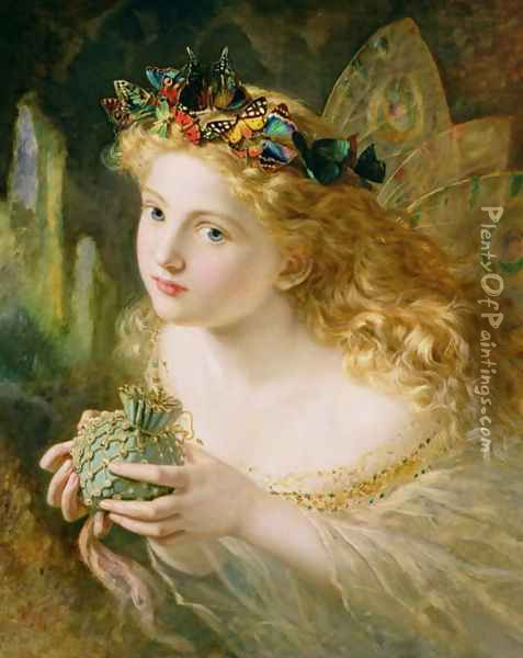'Take the Fair Face of Woman, and Gently Suspending, With Butterflies, Flowers, and Jewels Attending, Thus Your Fairy is Made of Most Beautiful Things', Charles Ede Oil Painting - Sophie Gengembre Anderson