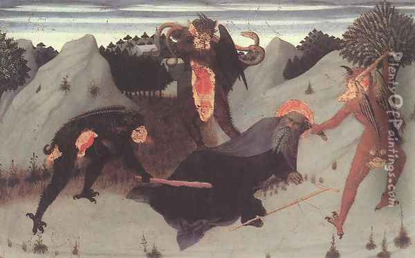St Anthony the Hermit Tortured by the Devils 1423 Oil Painting - Stefano Di Giovanni Sassetta