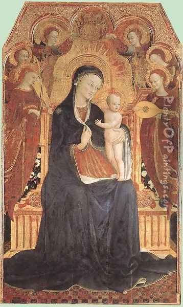 Virgin and Child Adored by Six Angels 1437-44 Oil Painting - Stefano Di Giovanni Sassetta
