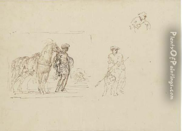 A Moor Holding A Horse Saddled  With A Leopard Skin And Studies Of Afigure Holding A Dog And Another  Figure Oil Painting - Stefano della Bella