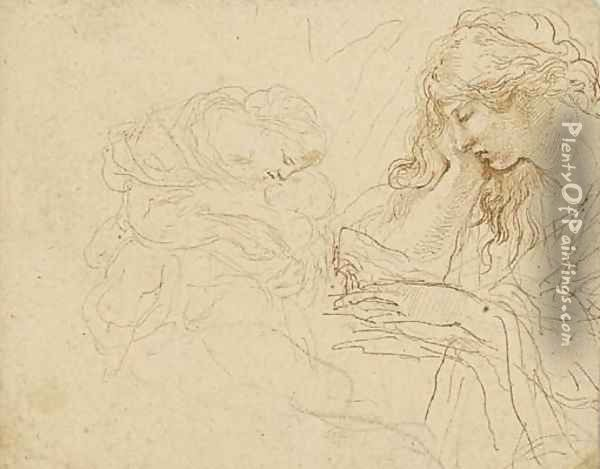 A woman reading, half length, in profile to the left, and a mother and child Oil Painting - Stefano della Bella