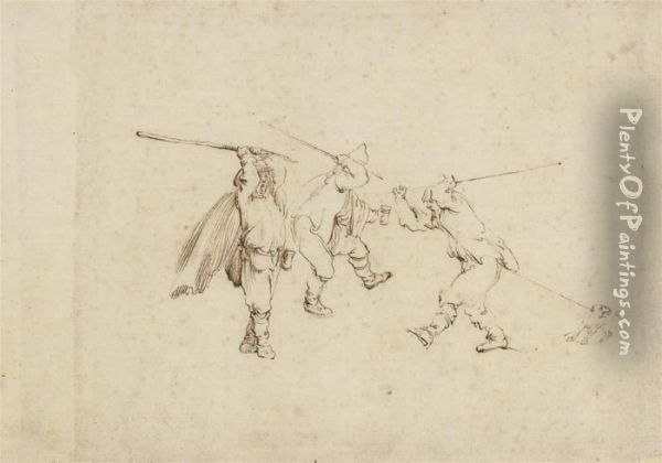 Three Men Fighting With Sticks, With A Dog Tugging The Right-handfigure Oil Painting - Stefano della Bella