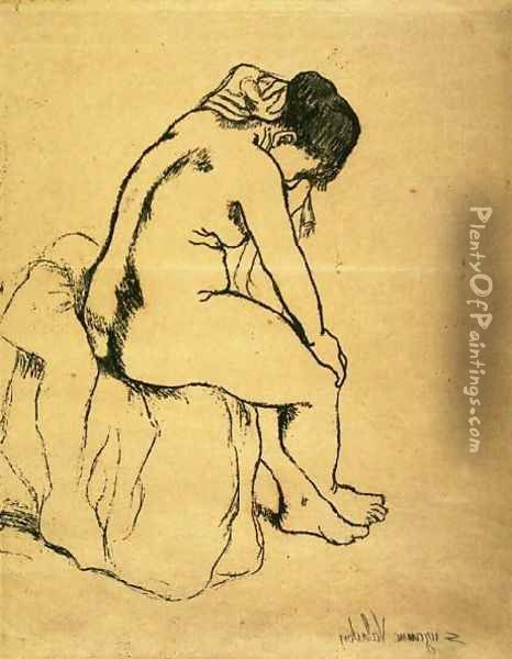 Bather Seated Oil Painting - Suzanne Valadon