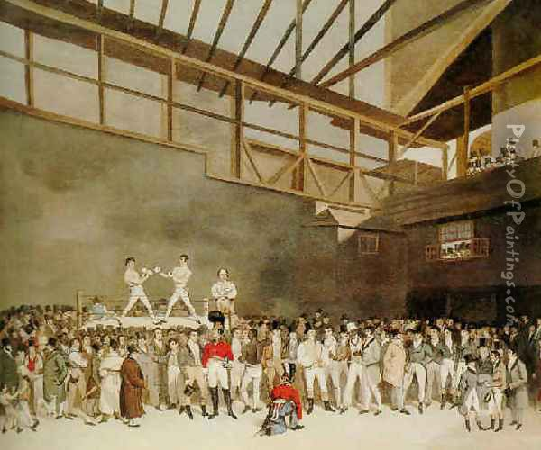 A benefit with Randall and Turner sparring, The Fives Court, London Oil Painting - T. Blake