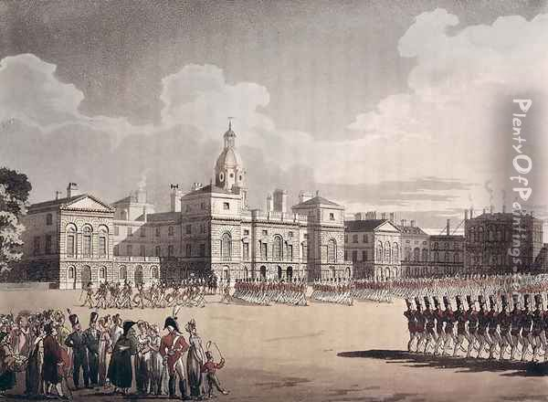 Mounting Guard at St. Jamess Park, engraved by J. Bluck, pub. 1809 by Ackermanns Repository of Arts Oil Painting - T. Rowlandson & A.C. Pugin