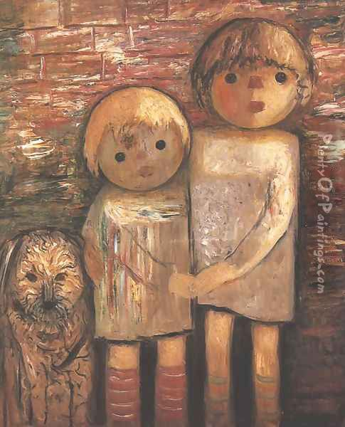 Two Children with a Dog Oil Painting - Tadeusz Makowski