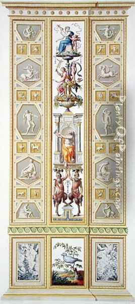 Panel from the Raphael Loggia at the Vatican, from Delle Loggie di Rafaele nel Vaticano, engraved by Giovanni Volpato 1735-1803, 1776, published c.1776-77 Oil Painting - Taurinensis, Ludovicus Tesio