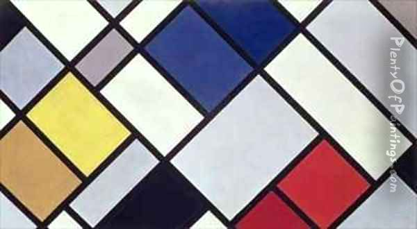 Contra Composition of Dissonances Oil Painting - Theo van Doesburg
