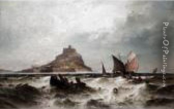 Fishing Smacks At Sea In Front Of St Michael's Mount, Cornwall Oil Painting - Theodor Alexander Weber