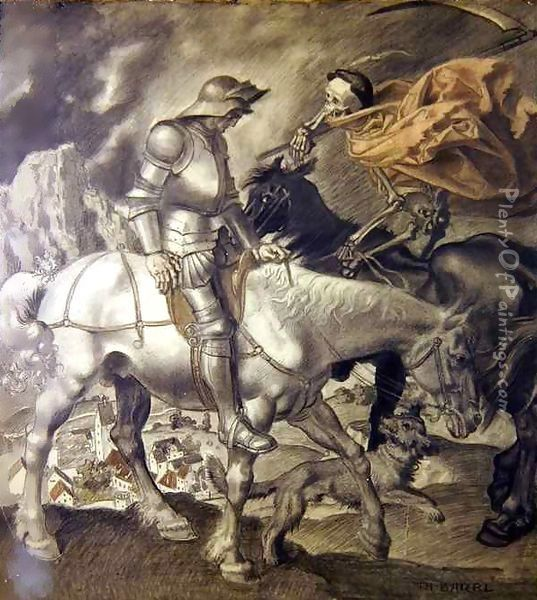 Knight Approached by Death Oil Painting - Theodor Baierl