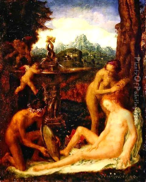 Venus at her Toilet Oil Painting - Theodor Baierl