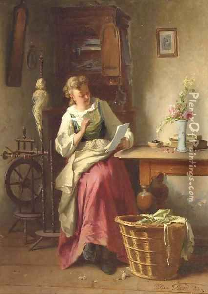 Writing to a loved one Oil Painting - Theodore Gerard