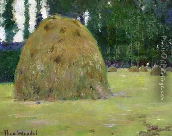 Haystacks in Giverny, France Oil Painting - Theodore Wendel